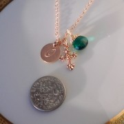 Rose Gold Cross with Optional Initial Disc and Birthstone