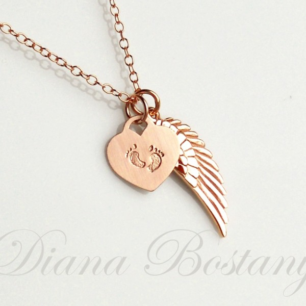 Infant Loss Necklace rose gold Wing tiny feet