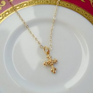 Gold Cross on Fine 14K Gold fill Chain