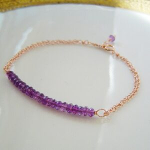Amethyst Bar Bracelet Rose gold Chain