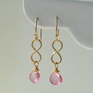 Gold Infinity Earrings Pink Quartz