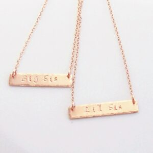 Sisters Necklace Set Rose Gold Bar