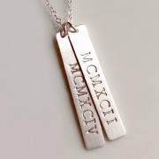 Silver Roman Number Bar Necklace