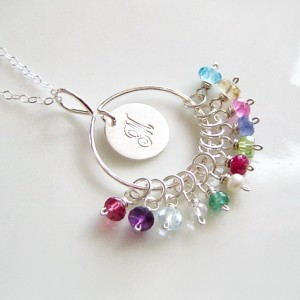 Family Birthstone Necklace Sterling