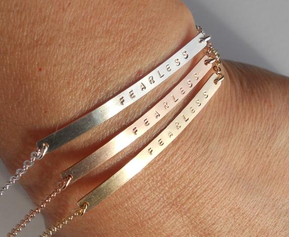 Custom Gold Bar Bracelet Fearlessbracelet3