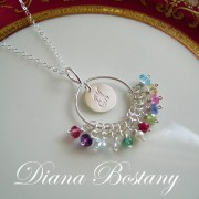 Monogram Family Birthstone Necklace