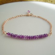 Amethyst Bar Bracelet Rose gold Chain