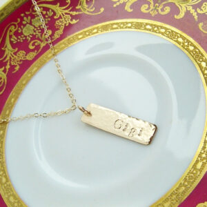 Gold Bar Necklace Veritcal