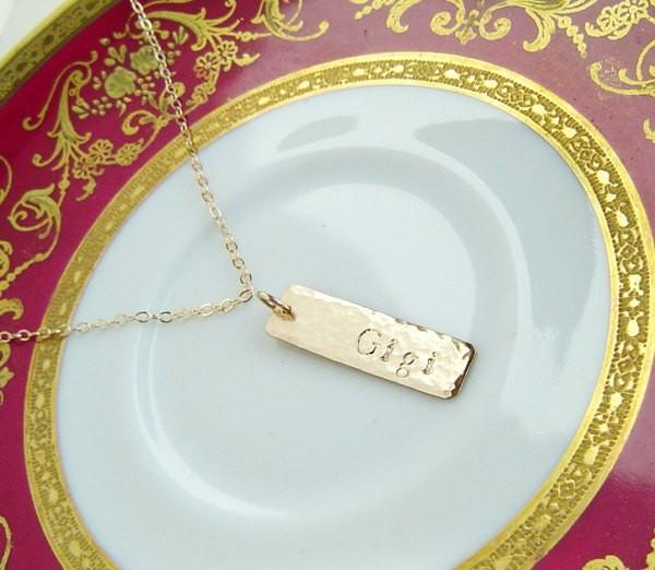 Gold Bar Necklace Veritcal