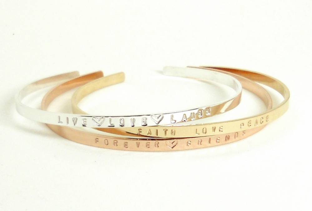 Personalized Thin Cuff in Gold, Sterling, Rose Gold