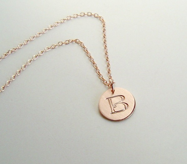 Larger Disc Rose Gold Initial Necklace