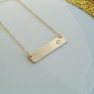 Initial Bar Necklace Gold