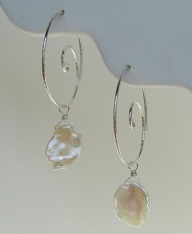Silver Nautilus Hoop Earrings