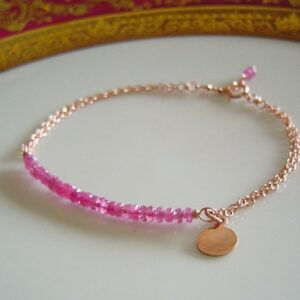 Pink Sapphire Bar Bracelet Rose Gold Chain