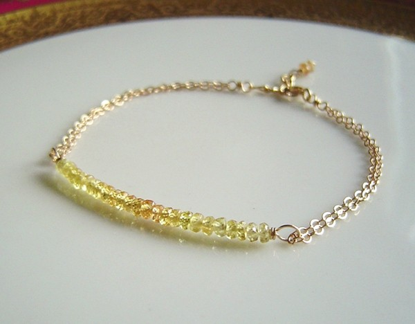 Yellow Sapphire Bar Bracelet