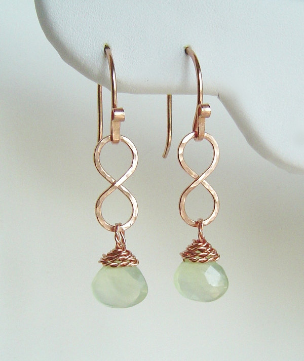 14K Rose Gold Drop Earrings Phrenite