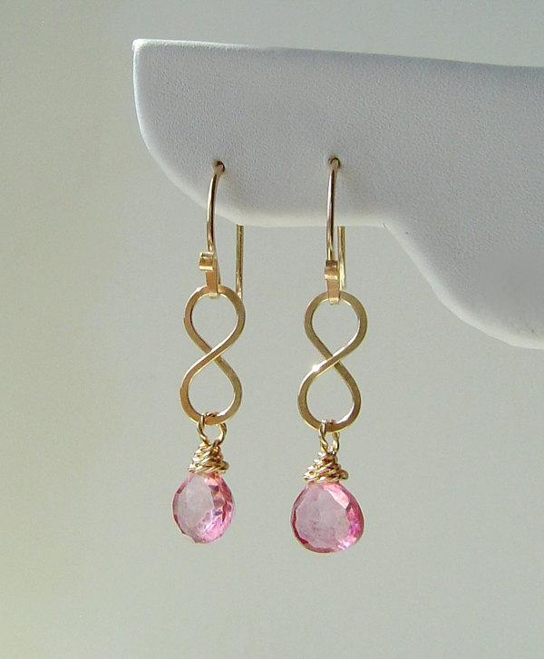 Gold Infinity Earrings Pink Quartz