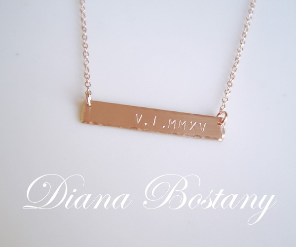 Rose Gold Date Bar Necklace