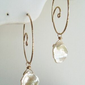 Gold Nautilus Hoop Earrings
