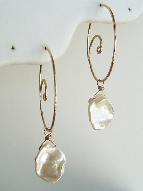 Gold Nautilus Hoop Earrings