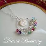 Monogram Family Birthstone Necklace