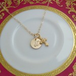 Gold Cross Necklace with Initial Disc Option