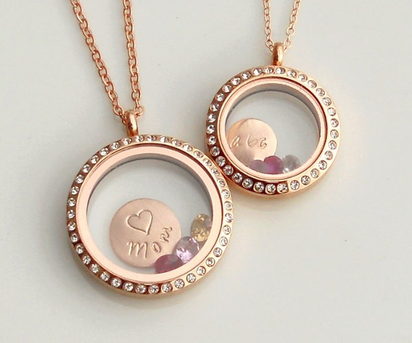 Rose Gold Crystal Living Lockets