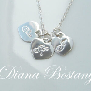 Three Hearts Initial Necklace