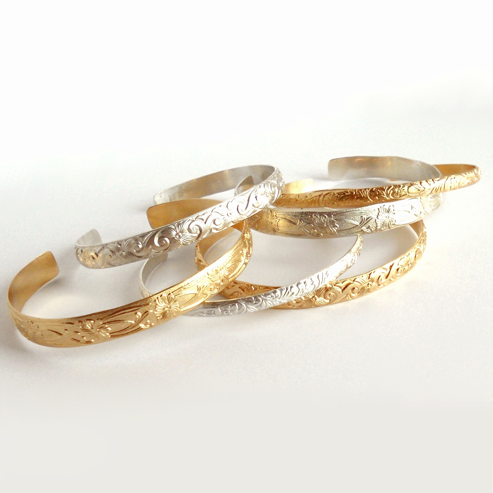 Textured Cuffs in Sterling and 14K Gold fill