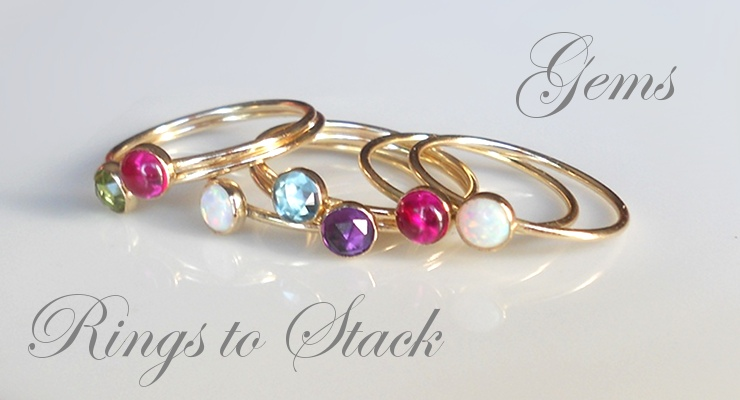 Gold Stacking Rings, Opal Ring, Gemstone Stacking Rings, Gem Stack Rings