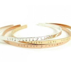Personalized Cuff, Thin Cuff Bracelet, Stamped Cuff Bracelet, Gold Cuff, Custom Cuff